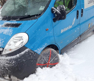 British Gas using AutoSock Snow Socks
