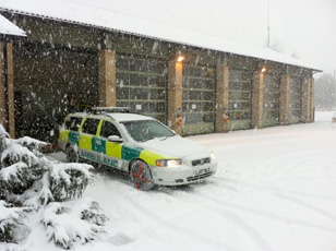 Ambulance using AutoSock snow socks
