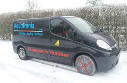 Van using AutoSock snow socks